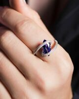 Exquisite Women 925 Silver Amethyst Ring Wedding Proposal Jewelry Happiness