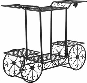 Black Metal 6-Tier Garden Cart Indoor Planter Stand, Flower Pot Display Rack
