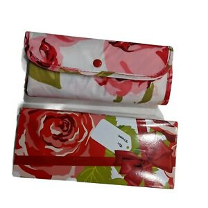 New Sachi Insulated Foldable Market Tote Bag Rose Floral Red Pink