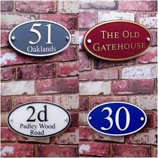 Personalised House Sign Door Number Street Address Plaque Modern OVAL Border