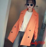 korean Womens Double Breasted Wool Blend Long Trench Coat casual Jackets outwear