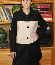 KATE SPADE Day Disco Dinah Wool Coat Color Block Black Camel NWOT size 10