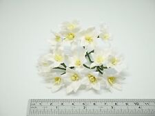 50 White Mulberry Paper Lily Flowers - 3 cm / 30 mm