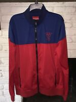 Guess Jeans Payce Track Jacket Full Zip Track Mens Red & Blue Navy XL NWT