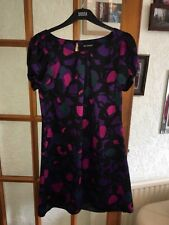 Autograph Marks And Spencer Purple And Black Satin Dress Size 12