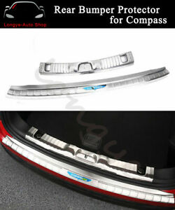 Rear Bumper Plate Mouldings Fits For Jeep Compass 2017-2020 Bar Sill Trim Scuff