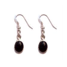 Black Onyx sterling silver celtic earrings jet goth gothic steampunk wedding