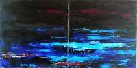 """TABLEAU ABSTRAIT  Peinture originale, PAYSAGE MARIN signé HZEN,""""NORDFJORD"""" 80x40"""