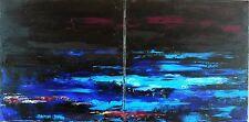 TABLEAU ABSTRAIT, art contemporain, Peinture de HZen, paysage - NORDFJORD, 80x40