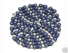 "YBN Bicycle Chain 1/2""x1/8""x 112 Links Blue & Chrome BMX Lowrider Bikes 123146"