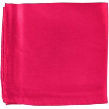 MANZO Men's Polyester Shiny Finish Pocket Square Hankie Only Hot Pink