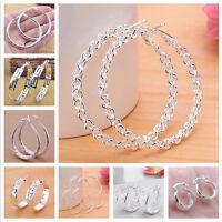 Fashion Women 925 Sterling Silver Earstud Hoop Dangle Earring Wedding Jewelry