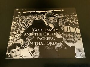 """NFL Green Bay Packers Vince Lombardi """"God, Family, Packers"""" 10x8 Photo!*"""