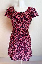 VERO MODA Orange Black Satin Ruffle Frill Sleeve mini short Skater Dress size 8