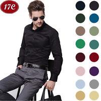 Luxury Men's Stylish Casual Dress Shirt Slim Fit T-Shirts Long Sleeve 17 Colors