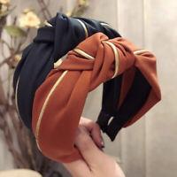 Solid Headband Turban Wide Hair Band Hoop Hairband Cross Knot Twist Headwrap 1PC