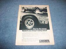 1971 Rocket Racing Wheels Vintage Ad with Butch Leal California Flash Camaro