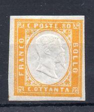 ANTICHI STATI 1861 SARDEGNA 80 C. GIALLO ARANCIO D/9162