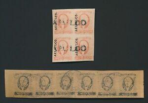 MEXICO STAMPS 1856-1861 HIDALGO 1/2r Sc #6 STRIP 6 VERACRUZ, 4r #4 CTO ACAPULCO