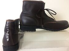 Vtg 90's Brown Leather Prison Boots Penn. Correctional Industries Men's Size 11
