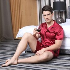 Men Sleepwear Summer Male Pajama Set Soft Nightgown Satin Silk Short Night Wear