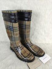 BURBERRY Wharton Haymarket With Tassels Rain Boots NOVA CHECK Sz EU40 UK7 w Box