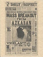 Harry Potter The Daily Prophet Mass Breakout From Azkaban Flyer/Poster Replica