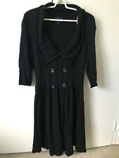 Witchery Wool Cashmere Blend Dress SiZe M 10 Black Minor Faults