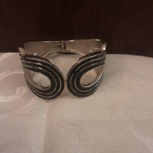 Vintage Silver Tone Black Enamel Hinged Bracelet   #FS18