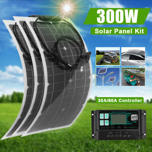 300W Flexible Solar Panel Charge Kit Marine Caravan Battery Charger Controller