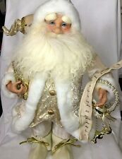 """Winter White and Ivory and Gold Standing Santa Claus Christmas Figure 15"""" tall"""
