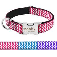 Nylon Dog Collar Personalised Medium Large Dog Name Plate Necklace Engraved Free