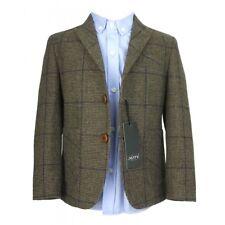 Kids Herringbone Tweed 4pc Wool Suit Brown Navy Blue Checkered Check Boys Suit