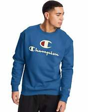 Champion Men's Fleece Crew Sweatshirt Big C & Script Logos Athletics Powerblend