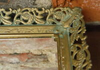 Vintage Mirrored Vanity Tray w/Gold Metal Filigree Frame Rectangle Footed Mirror
