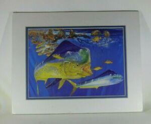 "Guy Harvey Matted El Dorado Dolphin Fish Ocean Fishing Art Print 11""X 14"""