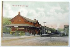 VINTAGE POSTCARD RAILROAD STATION DEPOT AT CHESTER VT railway train