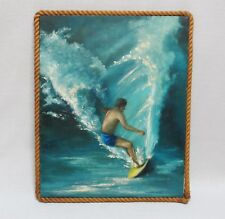 ELIZABETH WHYTE 1960s Surfer/Surfing/Surf Oil on Canvas Painting (Large & Clean)