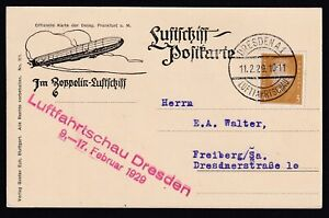 GERMANY 1929, Postcal card to Freiberg, Zeppelin flight, Illustrated