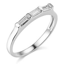 0.60ct Solid 14k White Gold Channel Set Baguette Man Made Diamond Ladies Band