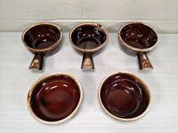 VTG 3 USA McCoy Brown Drip Glaze Pottery w Handle Soup Bowls 7050 + 2 more bowls