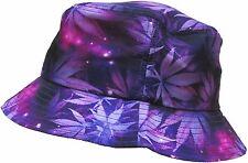 PURPLE MARIJUANA GALAXY BUCKET HAT WEED LEAF UNIVERSE SPACE PRINT BOONIE CAP