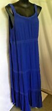 Autograph Cobalt Blue Tiered Beach Holiday Party Maxi Dress Short Sleeve 26