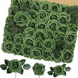 Artificial Flowers 42PCS, 3.2 Inches Real Touch Roses, Foam Roses w/ Greeneries