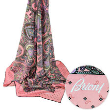 New BRIONI Square Pink Hand Made Silk Fashion Wrap Scarf Shawl Headscarf