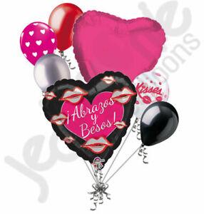 7 pc Abrazos y Besos Happy Valentines Day Balloon Bouquet Love Amo Hugs & Kisses