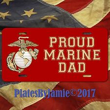 PROUD MARINE DAD License Plate USMC Emblem Aluminum License Plate Tag Gold Red