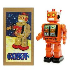 "TIN TOY ELECTRON ROBOT 12"" Orange with Gold Doors ME100 Battery Operated NEW"