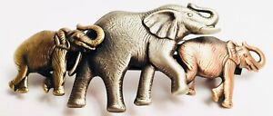 French Elephant Barrette Hair Clip Made In France Three Elephants Walking NOS