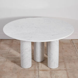 MARIO BELLINI WHITE CARRERA MARBLE WITH GREY VEINING DINING TABLE FOR CASSINA